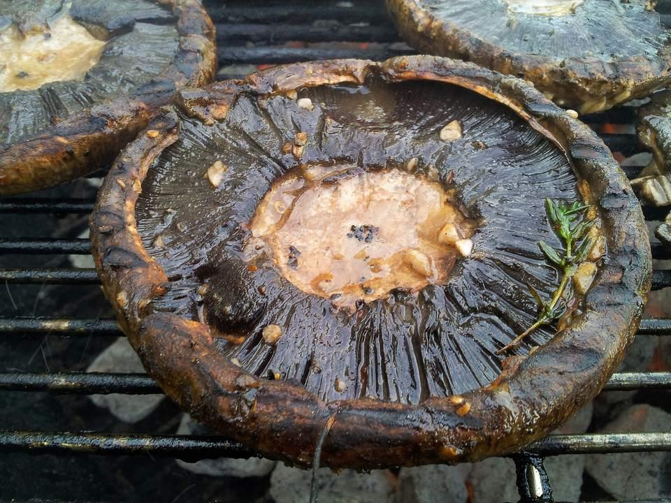 Portobello Mushrooms On Barbeque Grill