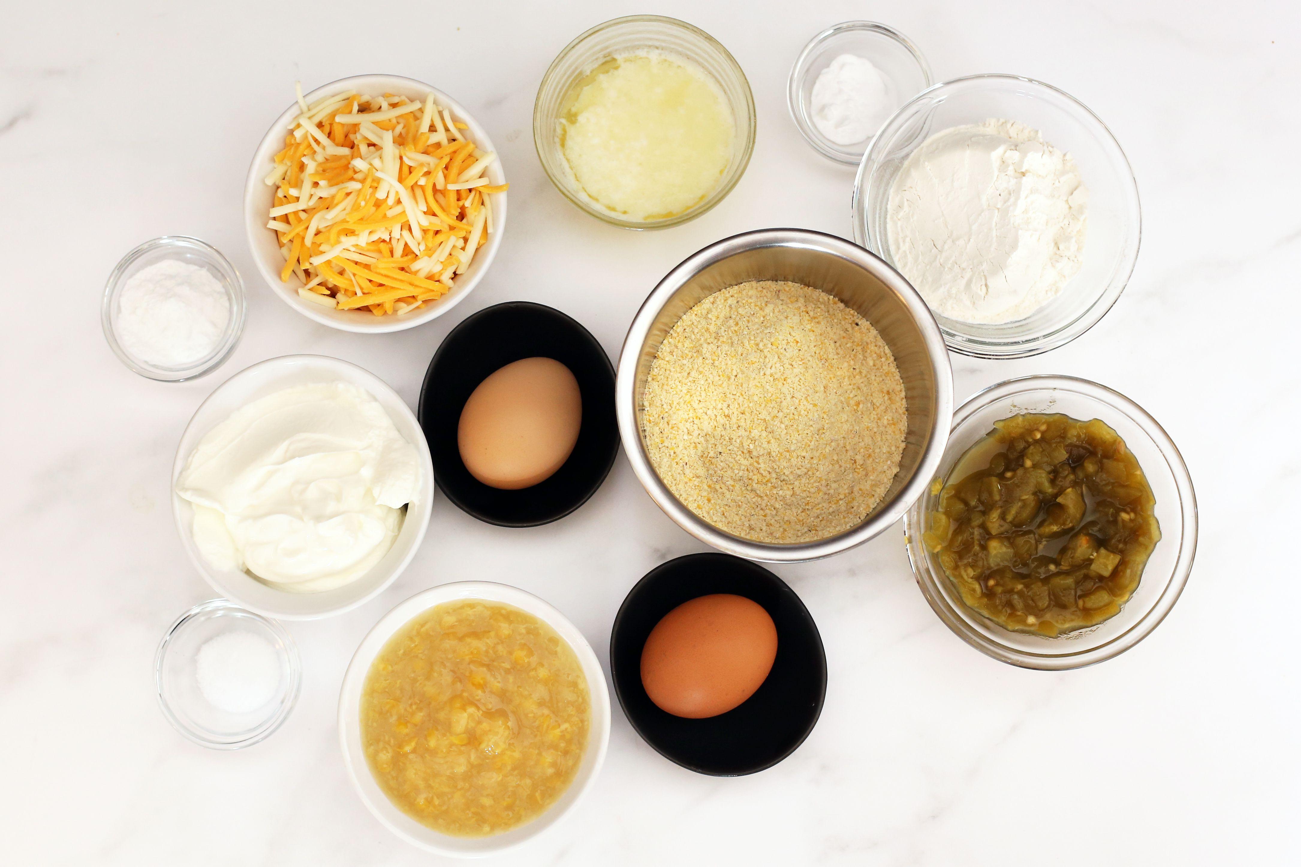Mexican cornbread ingredients.