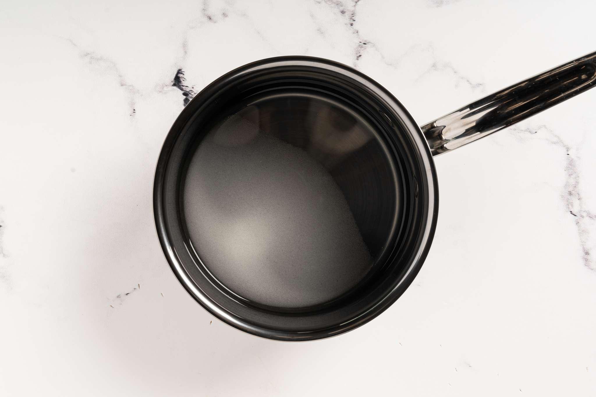 Sugar syrup in a pot