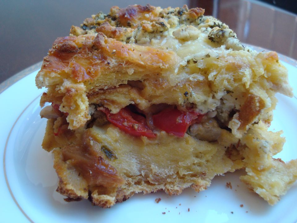 Challah Strata with Mushrooms, Peppers