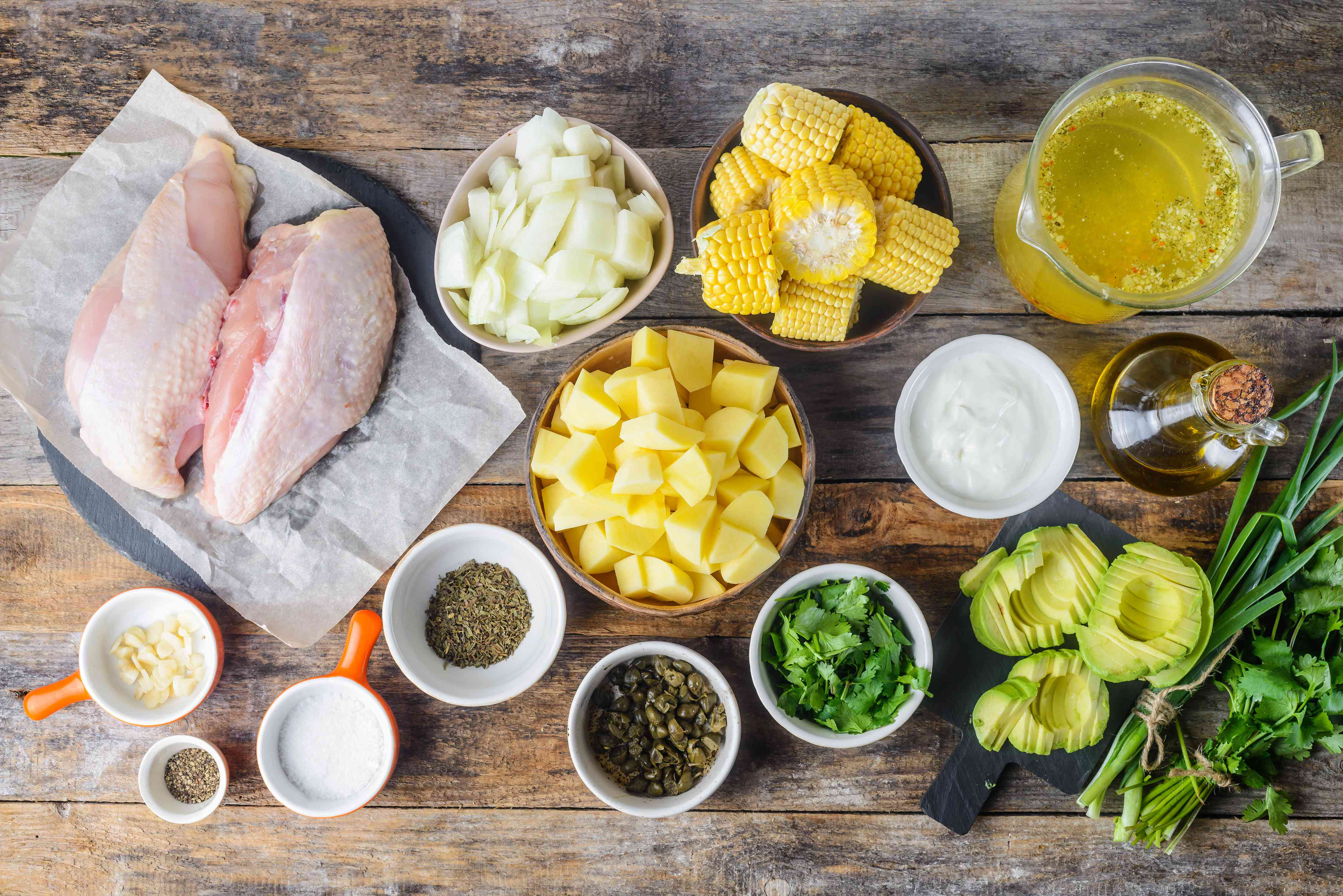 Ingredients for Colombian chicken and potato stew