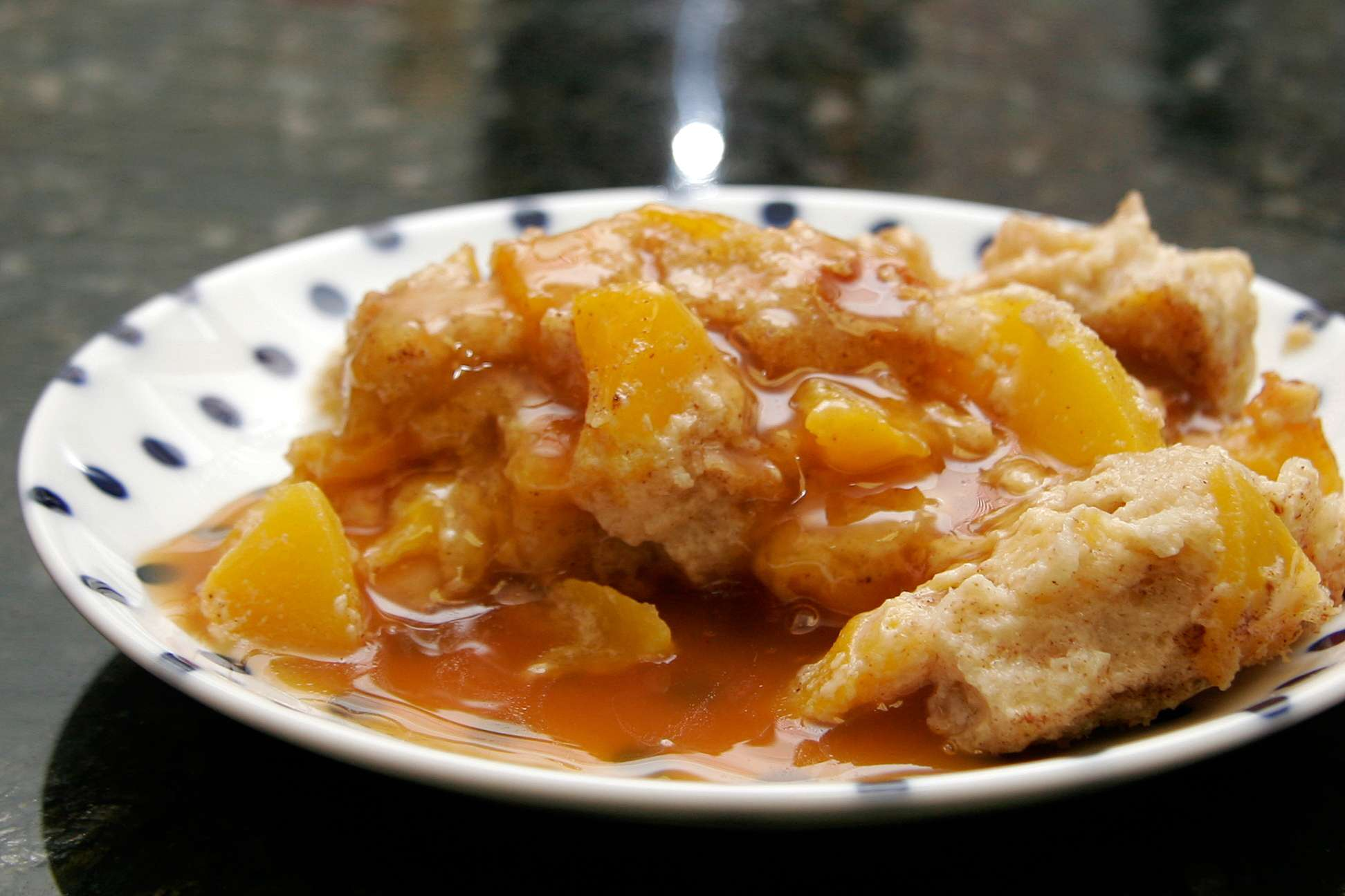 Peach Bread Pudding With Butterscotch Sauce