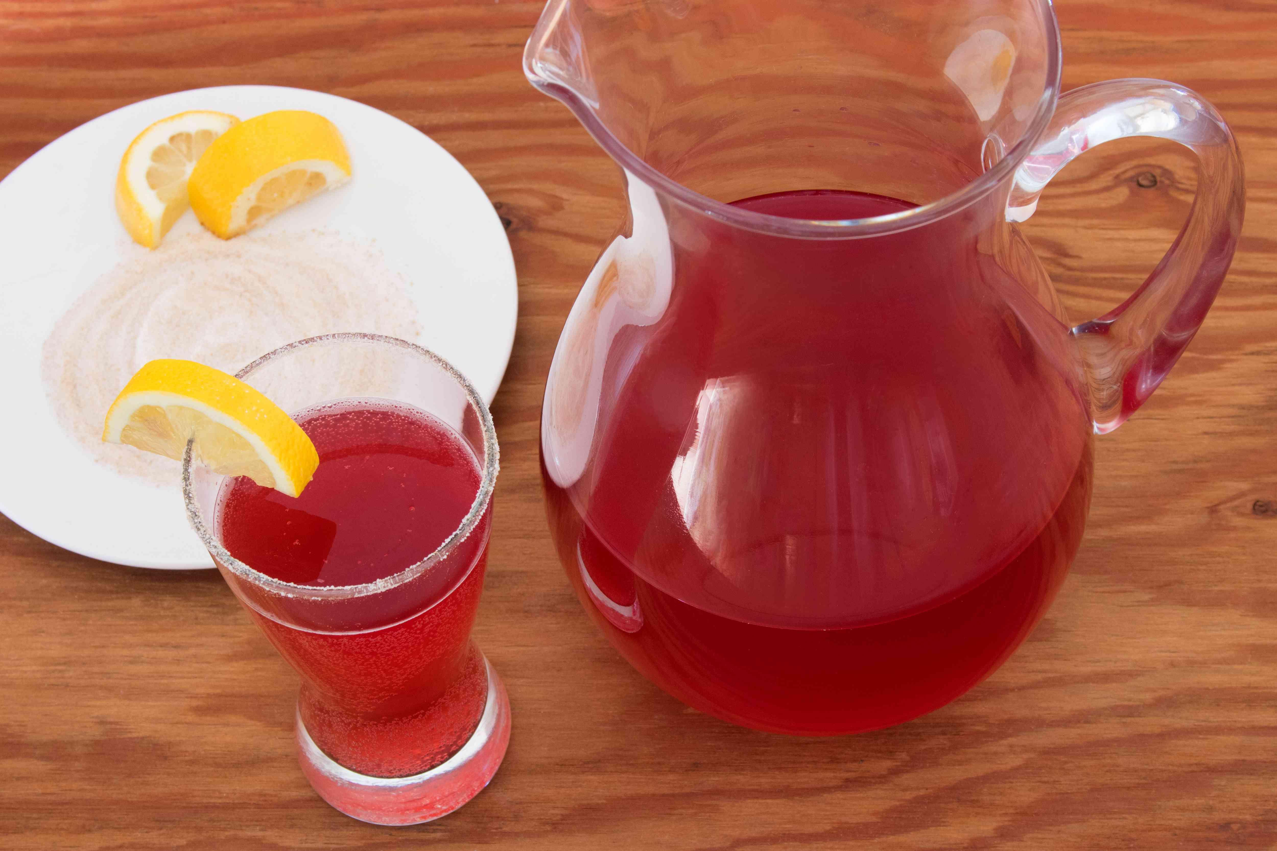 Cranberry Ginger Shandy With Ginger Sugar Rim
