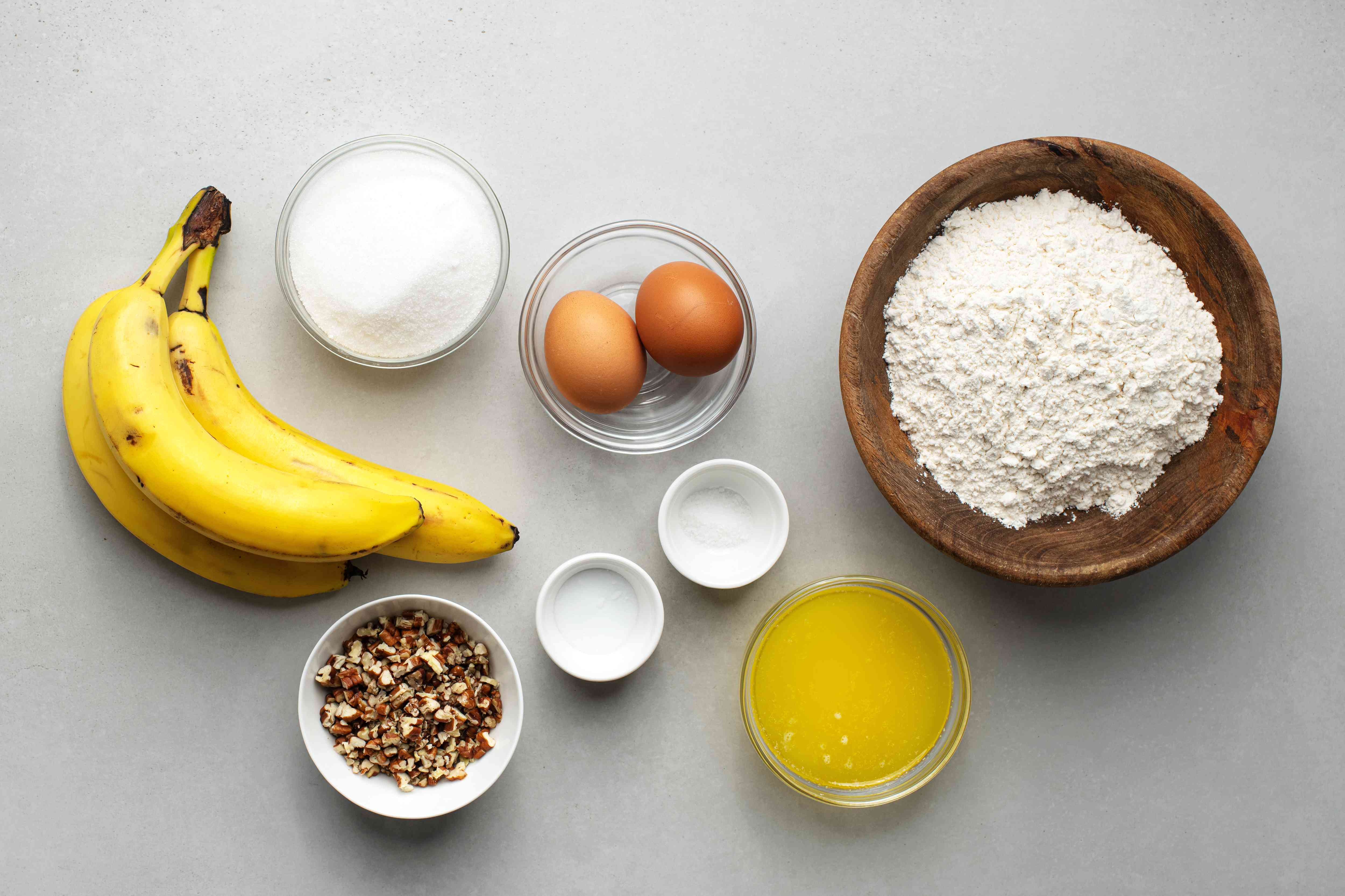 ingredients for banana nut bread
