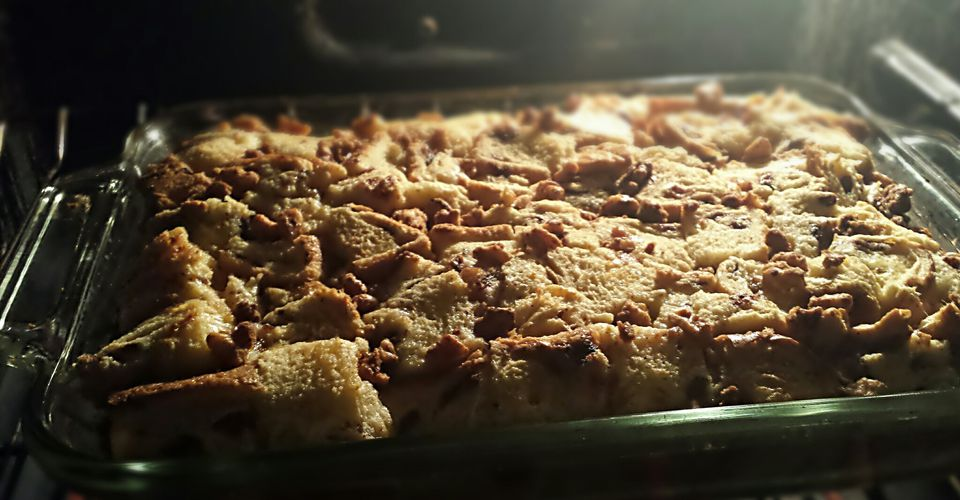 Close-Up Of Bread Pudding Served In Tray