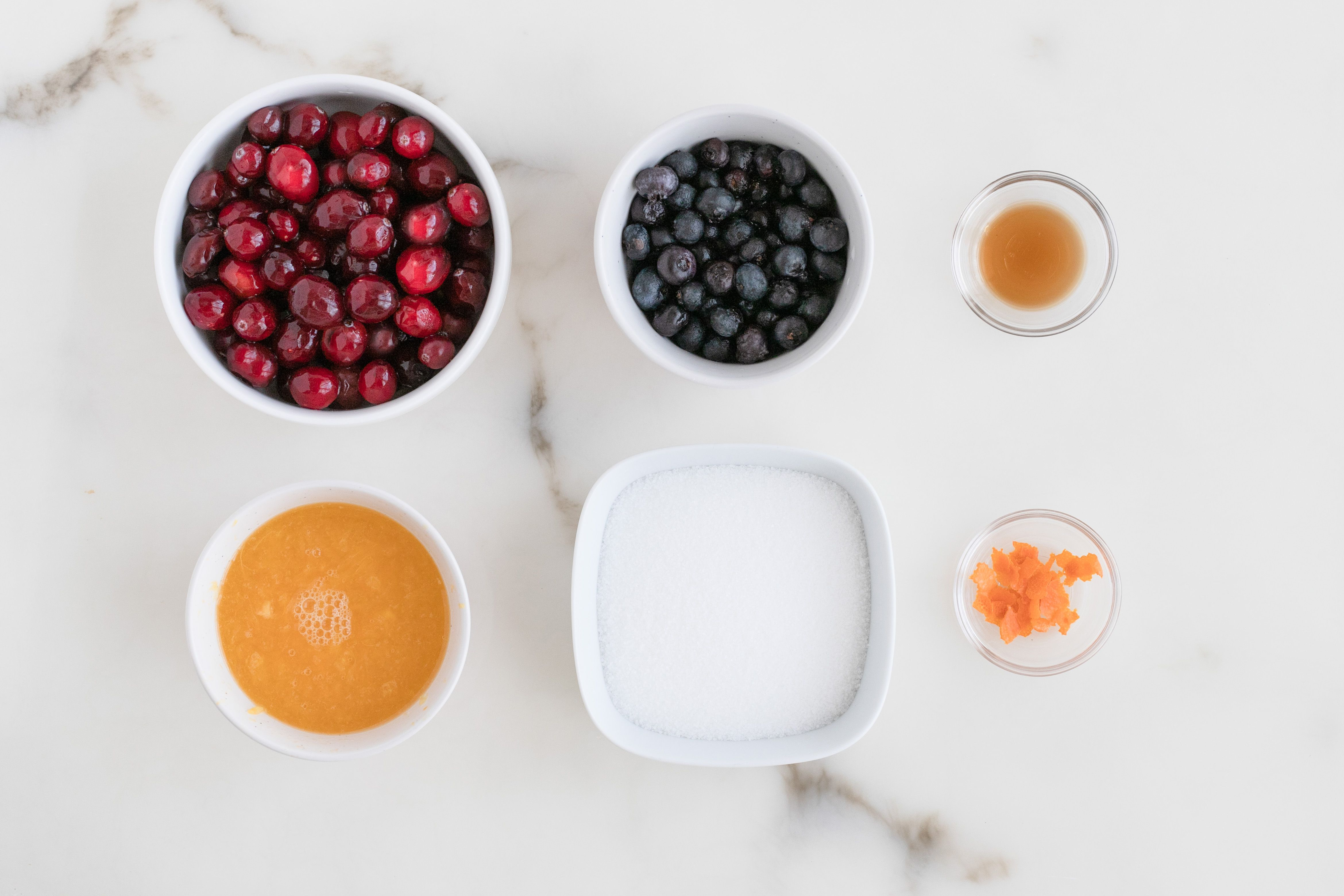 Ingredients for cranberry sauce with blueberries