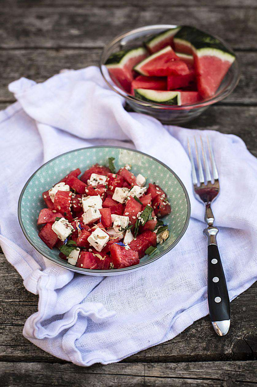 Cool, refreshing salad of watermelon, prosciutto, and feta.