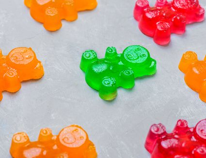Homemade orange, green, and red gummy bears