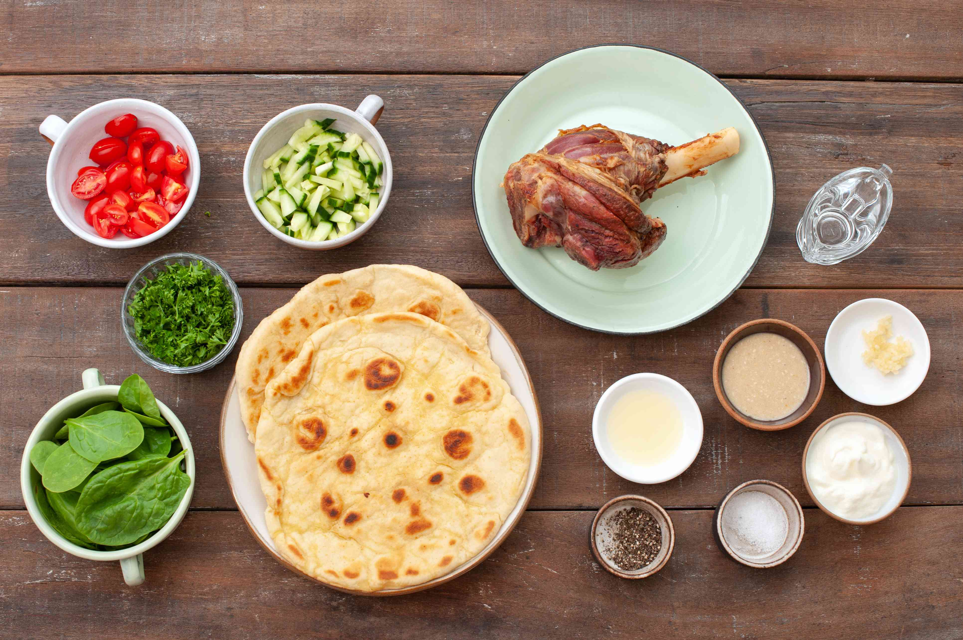 Ingredients for lamb sandwich