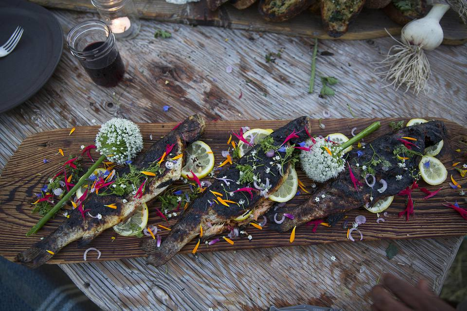 Fresh fish on a cedar plank