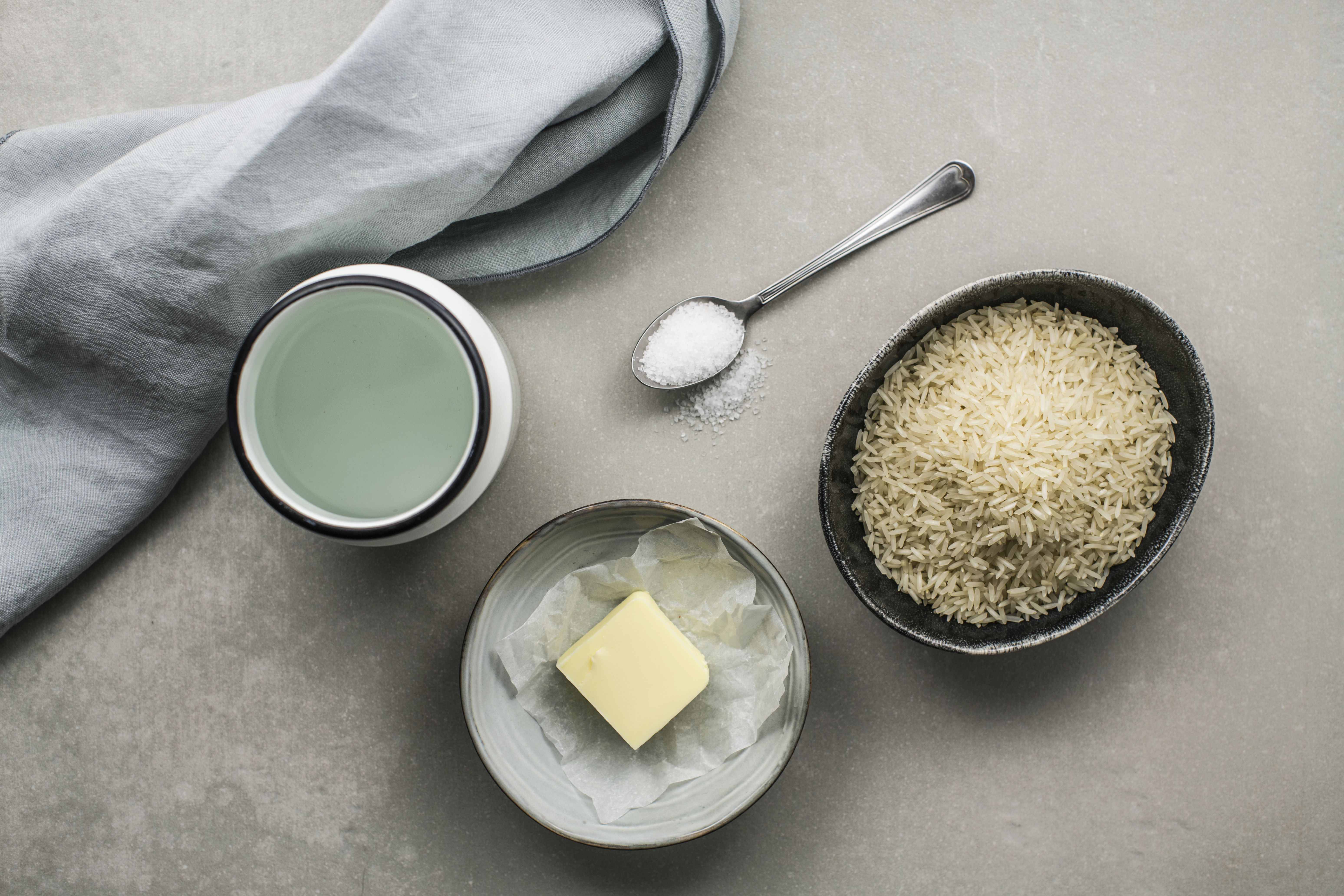 Ingredients for foolproof stovetop rice