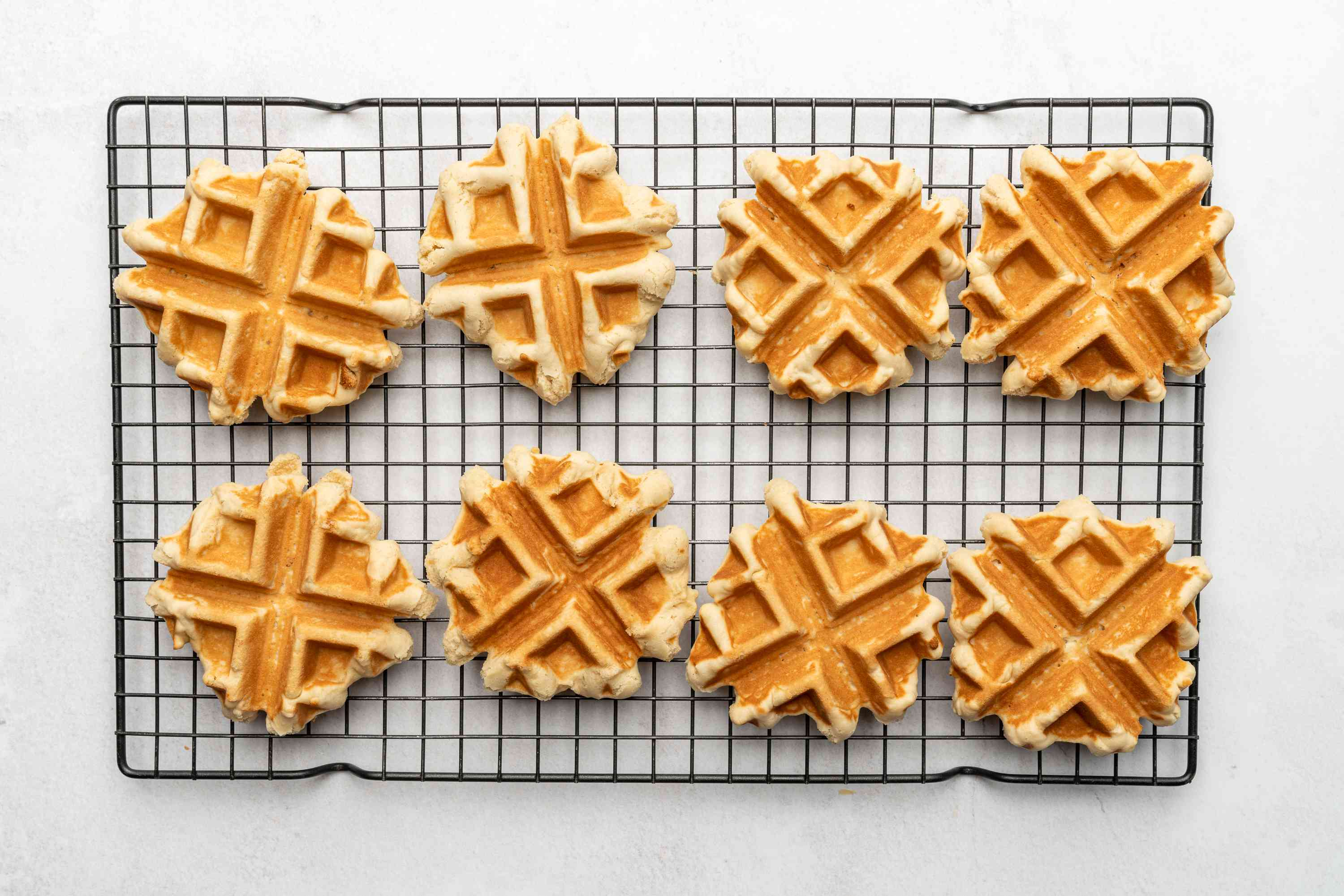 French Belgian Waffle Cookies (Gaulettes) on a cooling rack