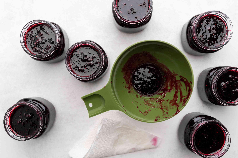 pour jams into jars