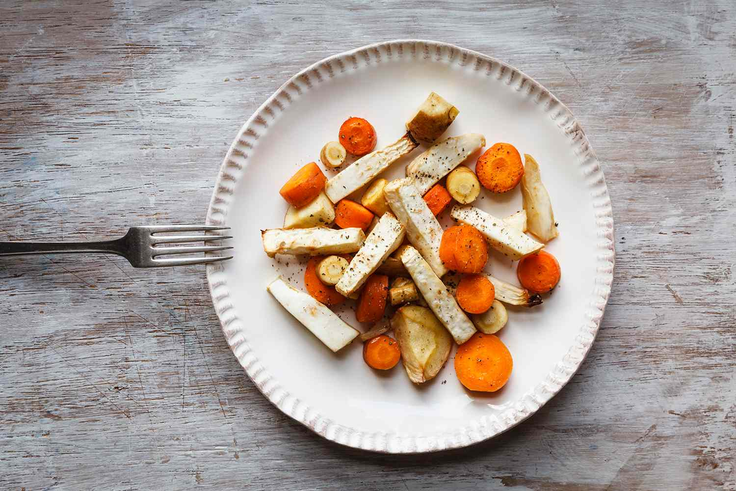 Roasted root vegetable, carrot, parsnip and celeriac