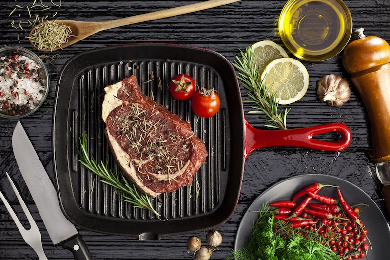 Steak on small grill pan