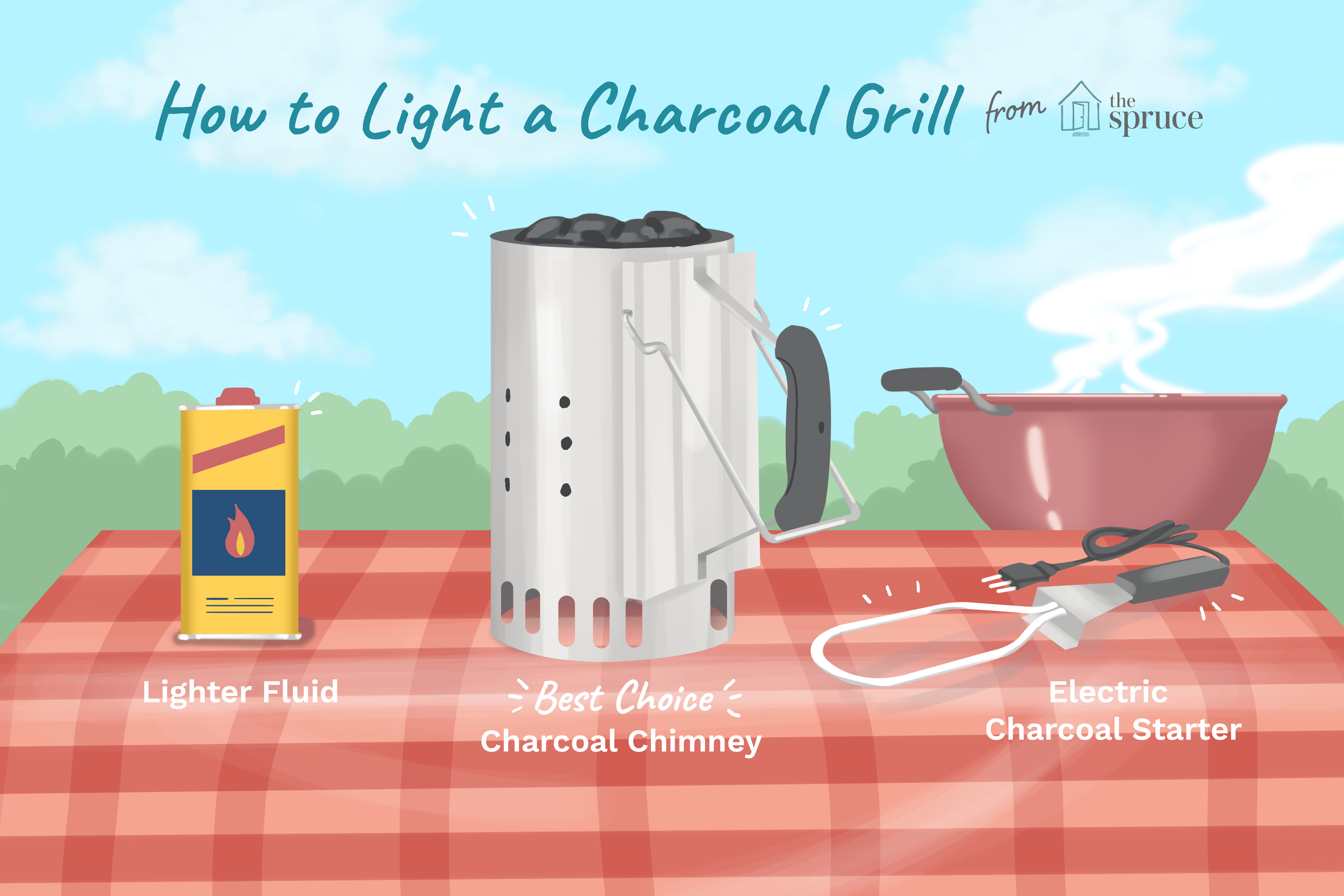 how to light a charcoal grill illustration