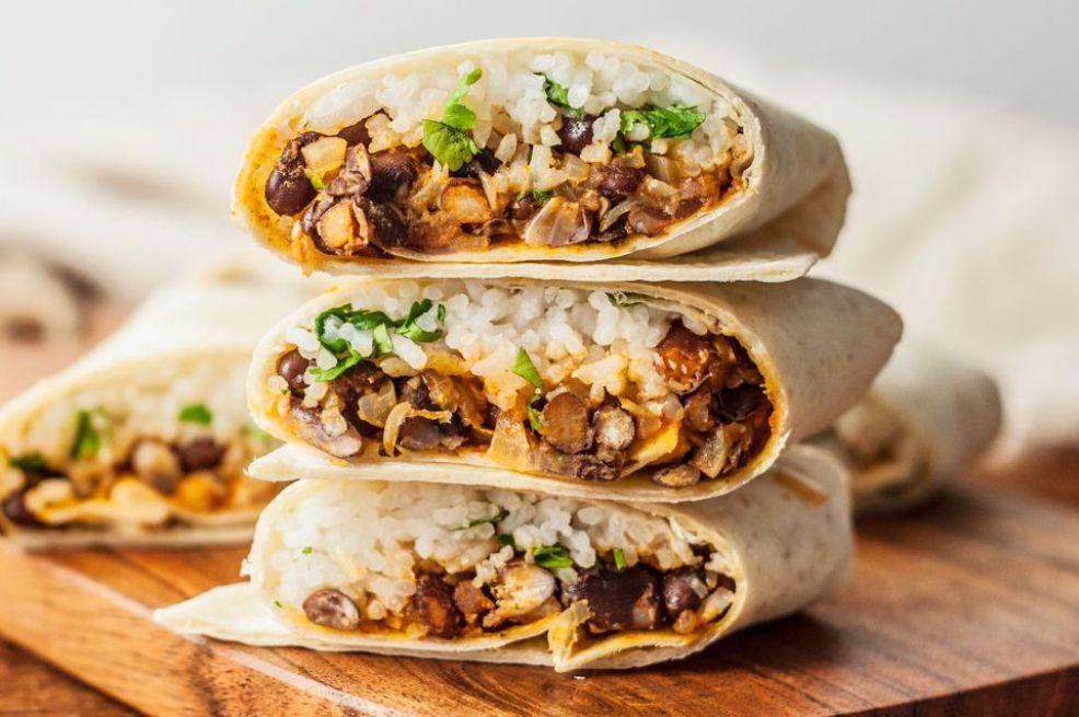 Vegan and Vegetarian Bean and Rice Burrito