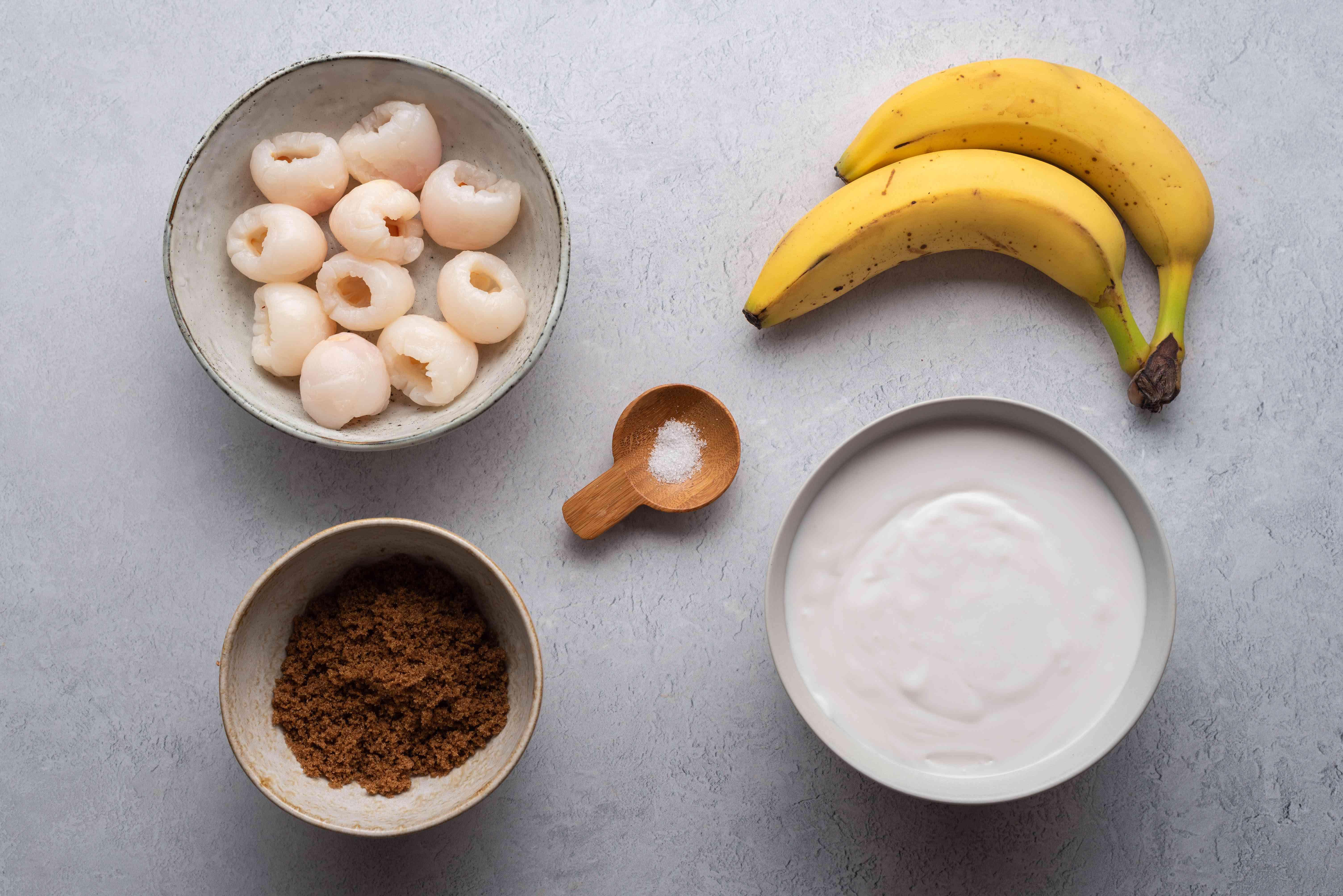 Thai Banana-Lychee Dessert in Coconut Milk ingredients