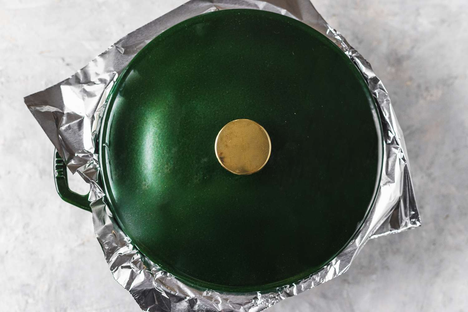 Pan covered with foil and a lid