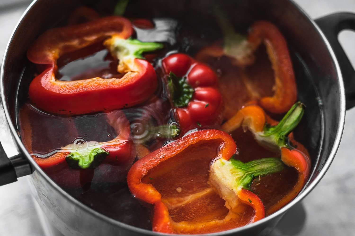 peppers boiling in a pot
