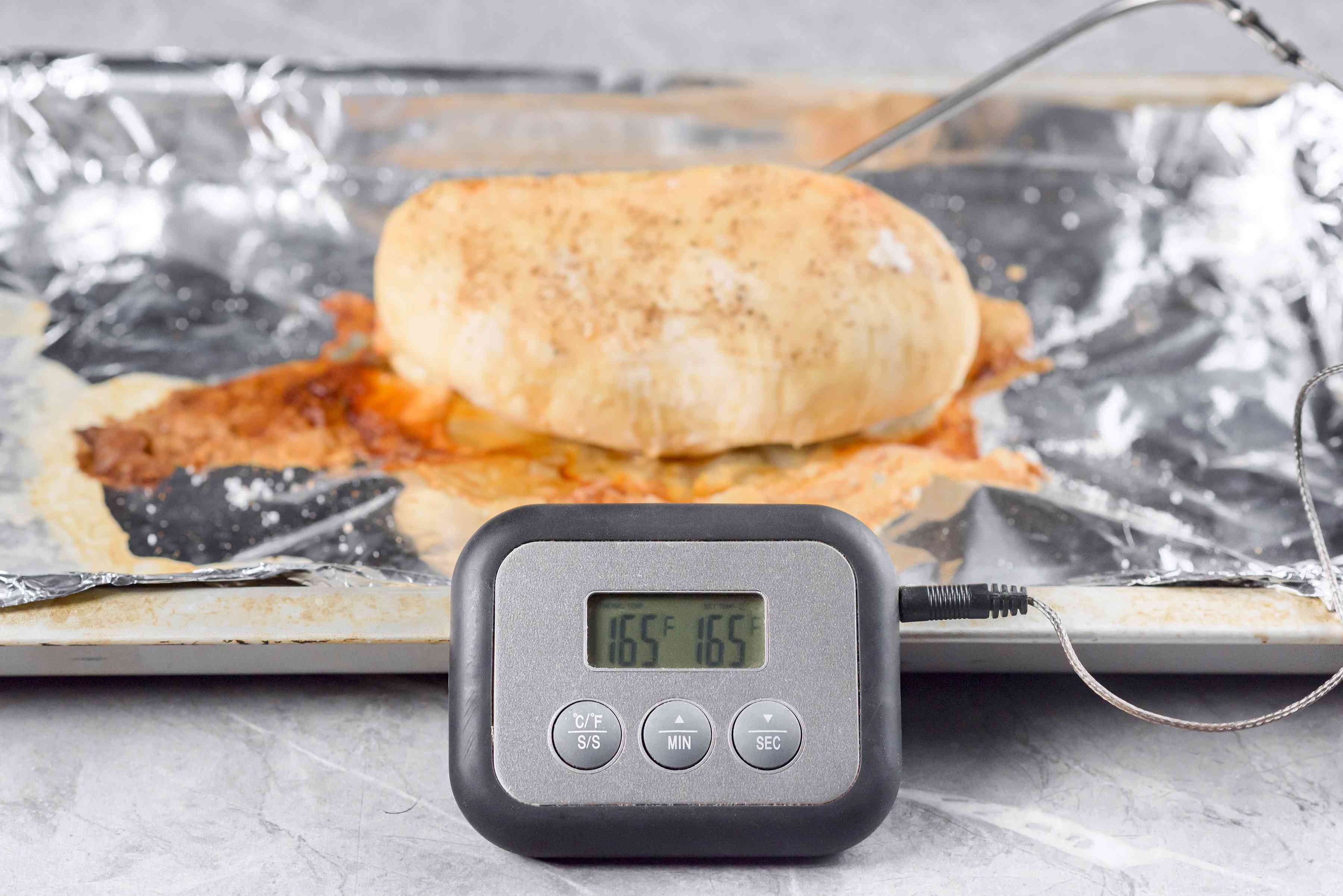 Bake until the chicken registers 165 F on a thermometer