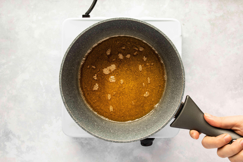 Caramel darkening in the pan