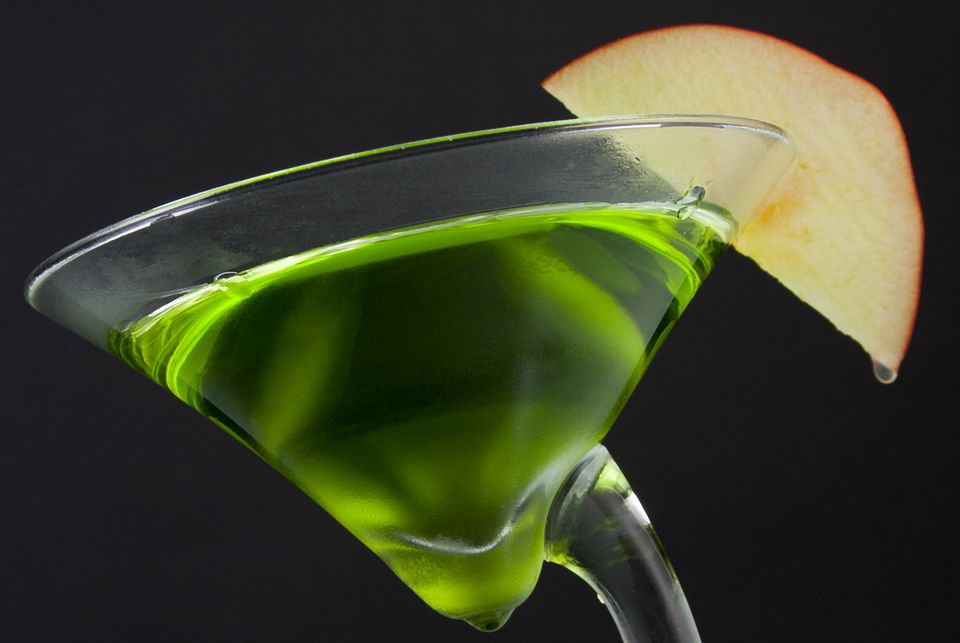 Green Dublin Apple Cocktail With Irish Whiskey and Sour Apple Schnapps