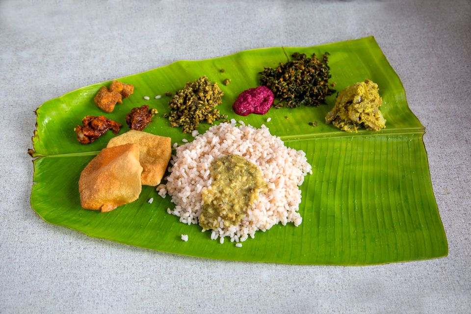 Kerala meal on banana leaf.