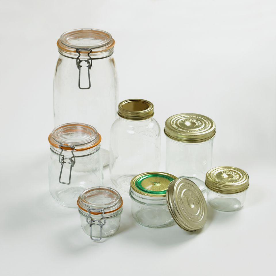 Various preserving jars with lids