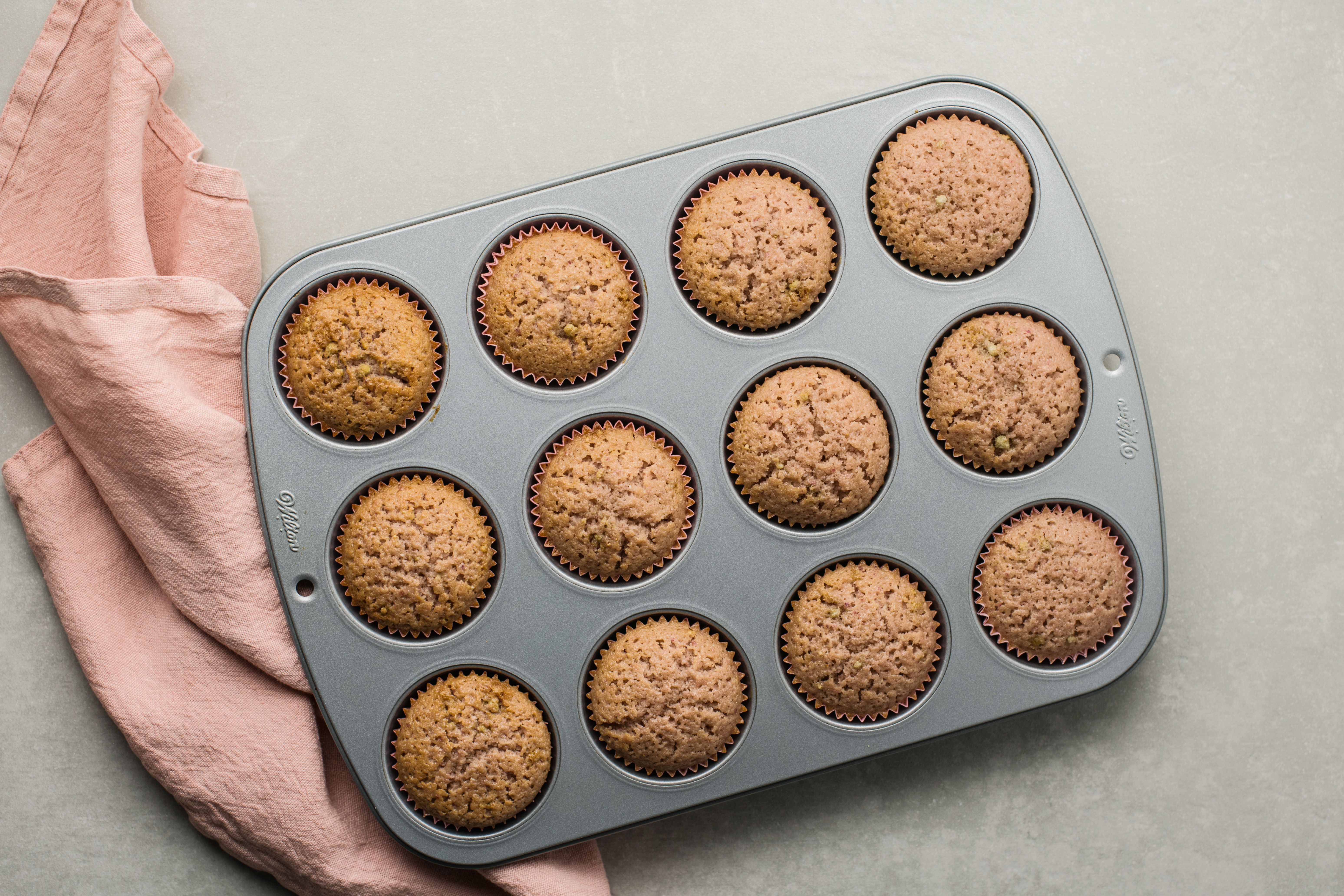 Baked cupcakes in tin