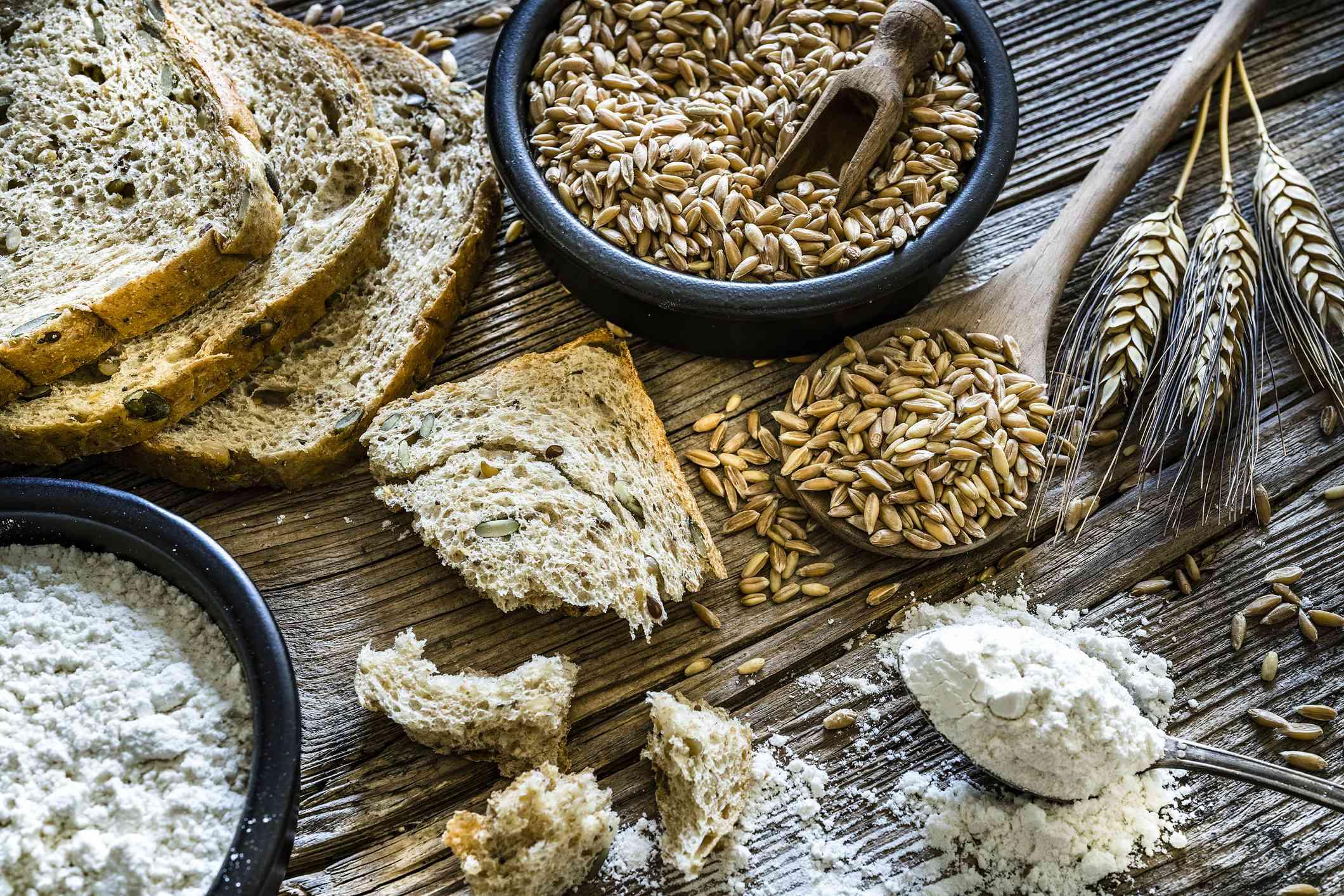 Spelt flour, bread, grain