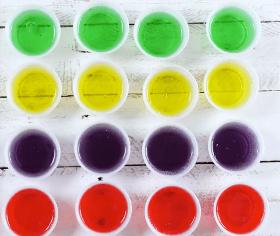 Jello shot recipe in several different flavors