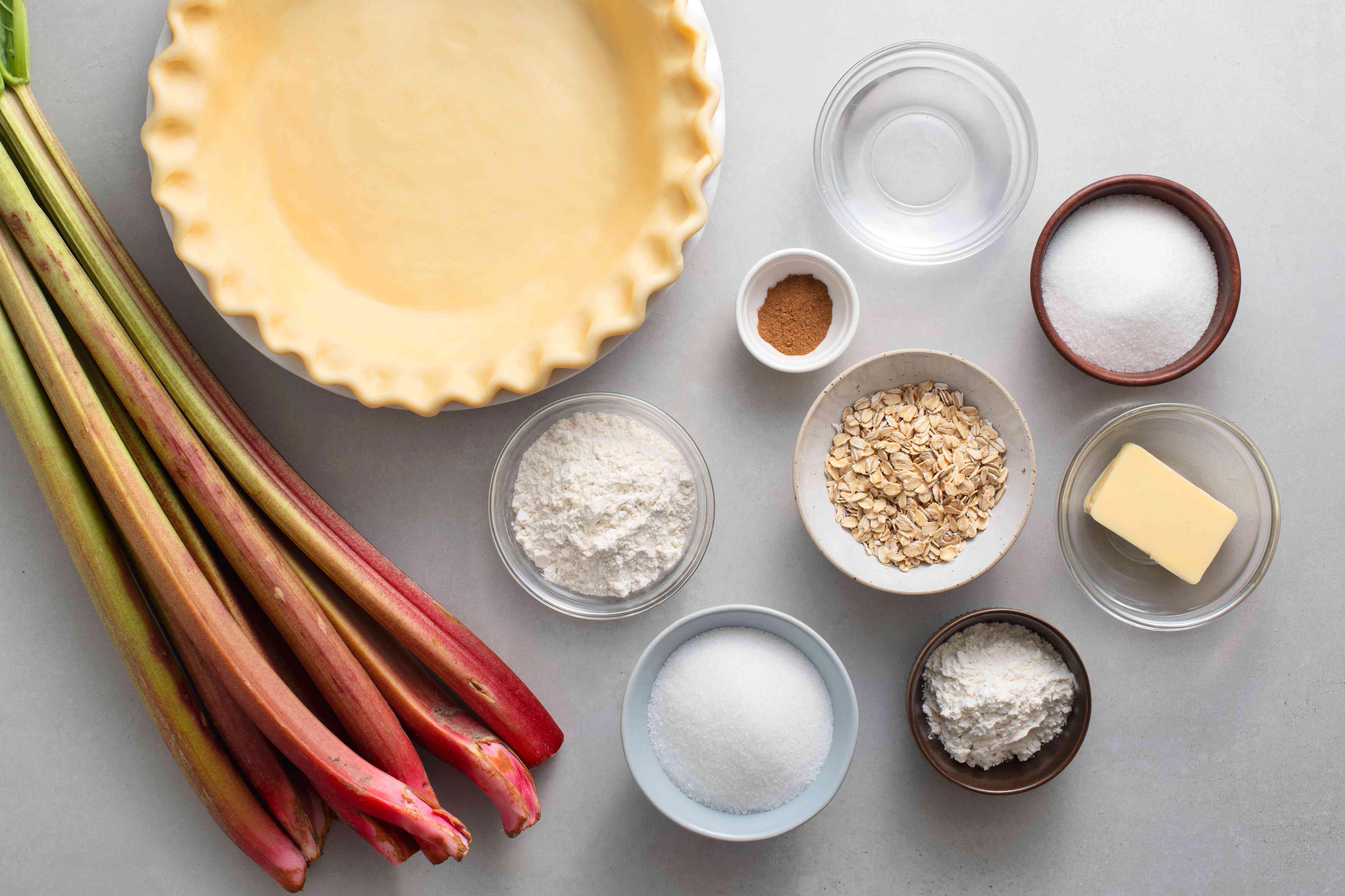 Rhubarb Crumble Pie ingredients