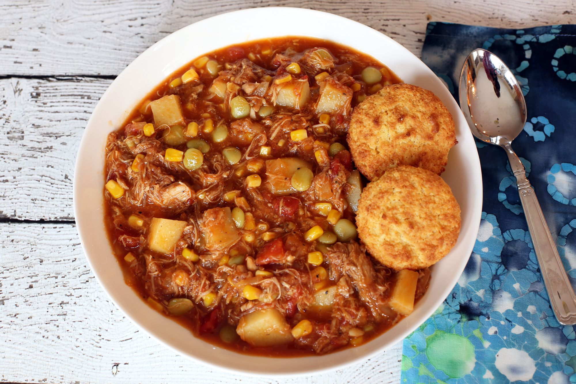 Brunswick Stew With Chicken, Potatoes, Corn, and Lima Beans