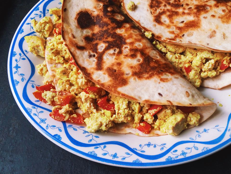 Scrambled Egg And Tofu In Tortilla