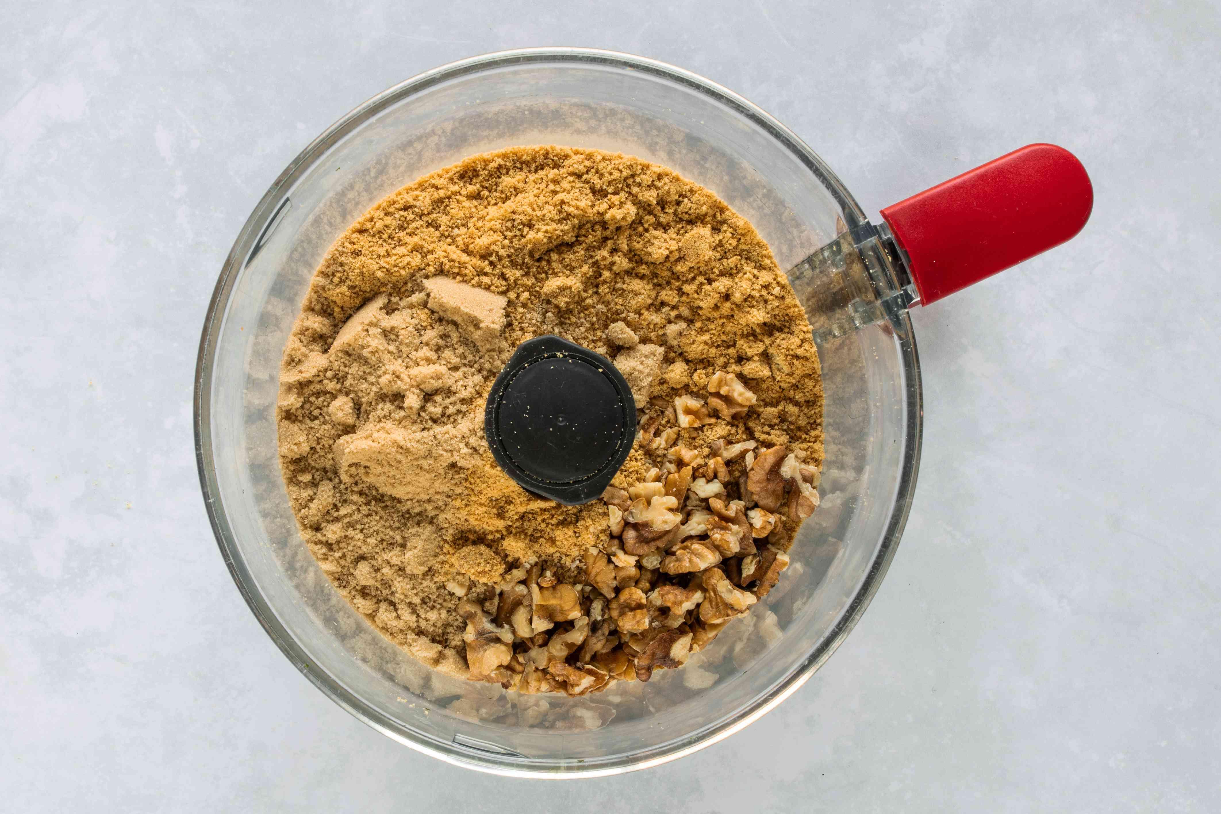 Ground crumbs, walnuts, brown sugar