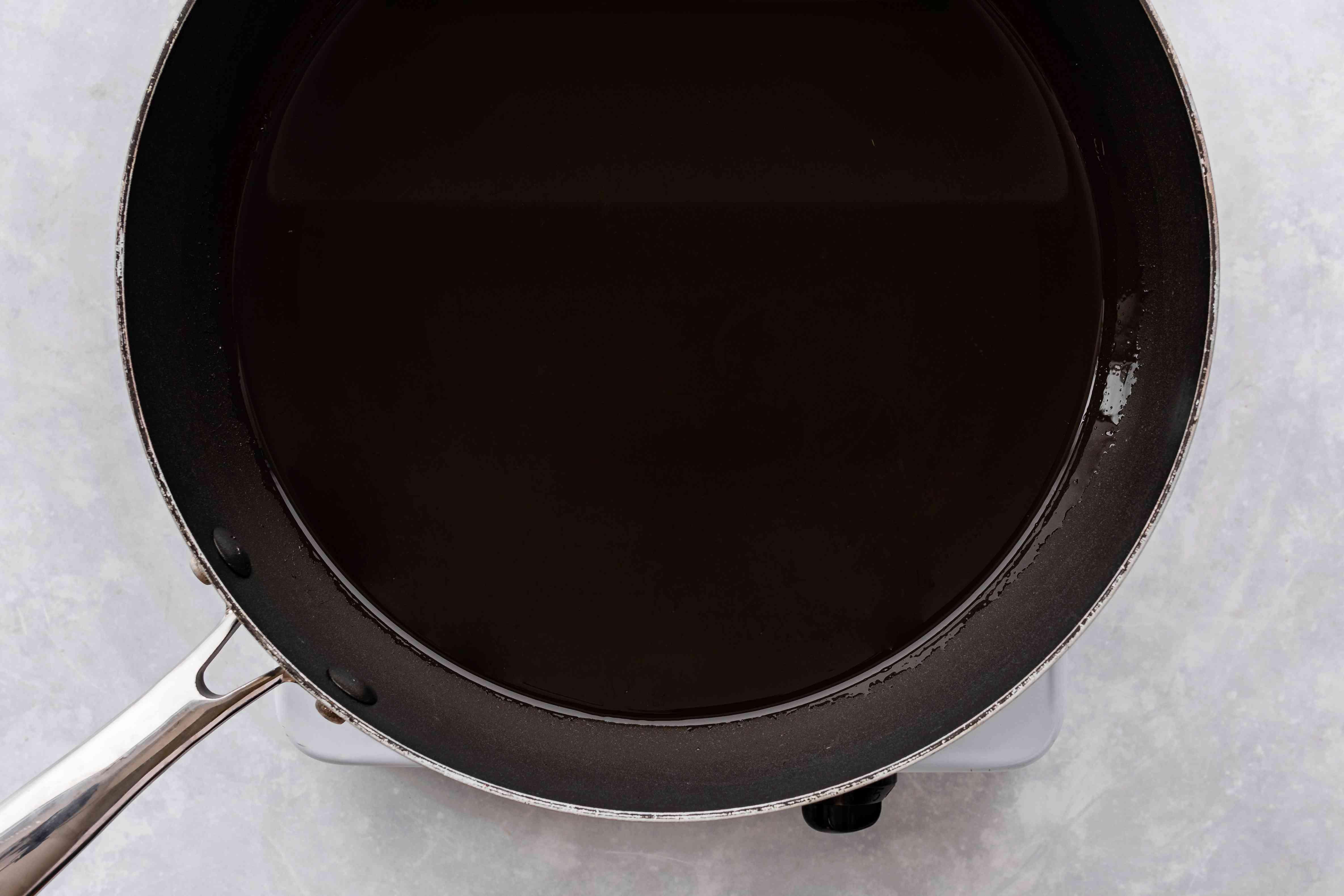 Oil heating in a pan