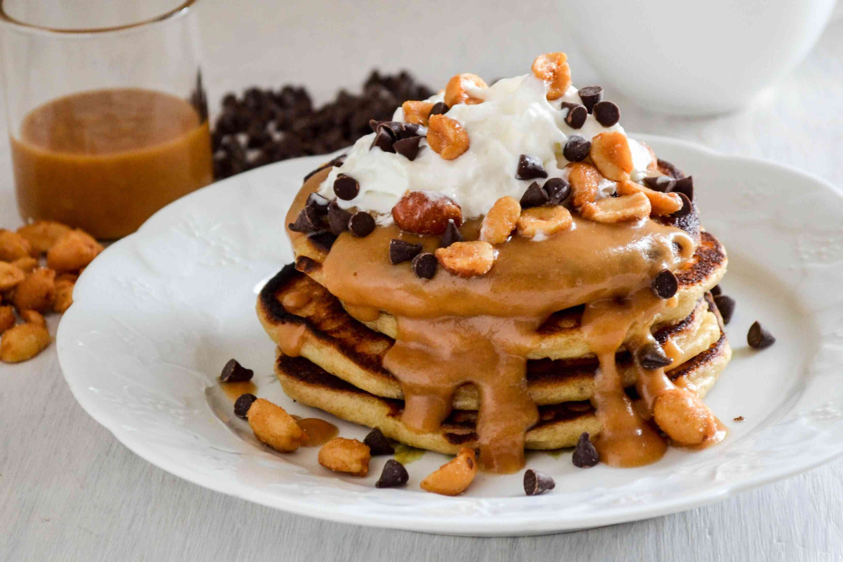 Peanut butter pancakes with maple-peanut butter syrup