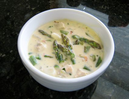 A bowl of chicken and asparagus chowder