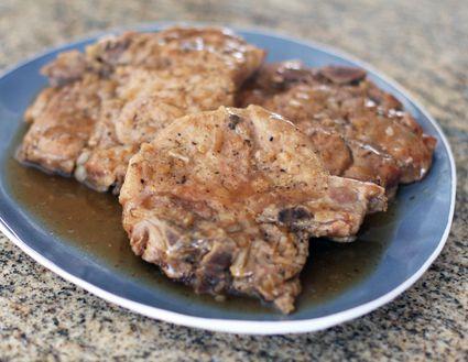 Super easy slow cooker pork chops