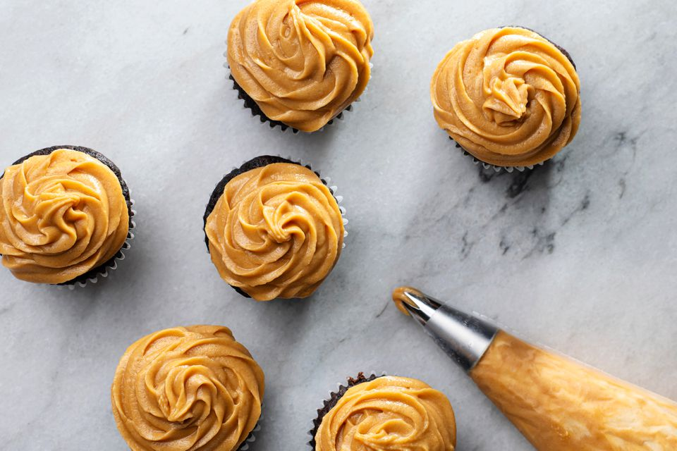Easy Vegan Peanut Butter Frosting on cupcakes