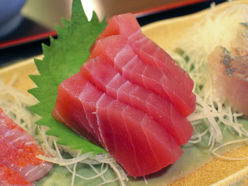 Receta de sashimi de atún con Daikon y jengibre