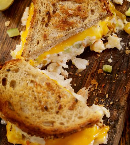 Grilled Cheese Seafood Salad Sandwich