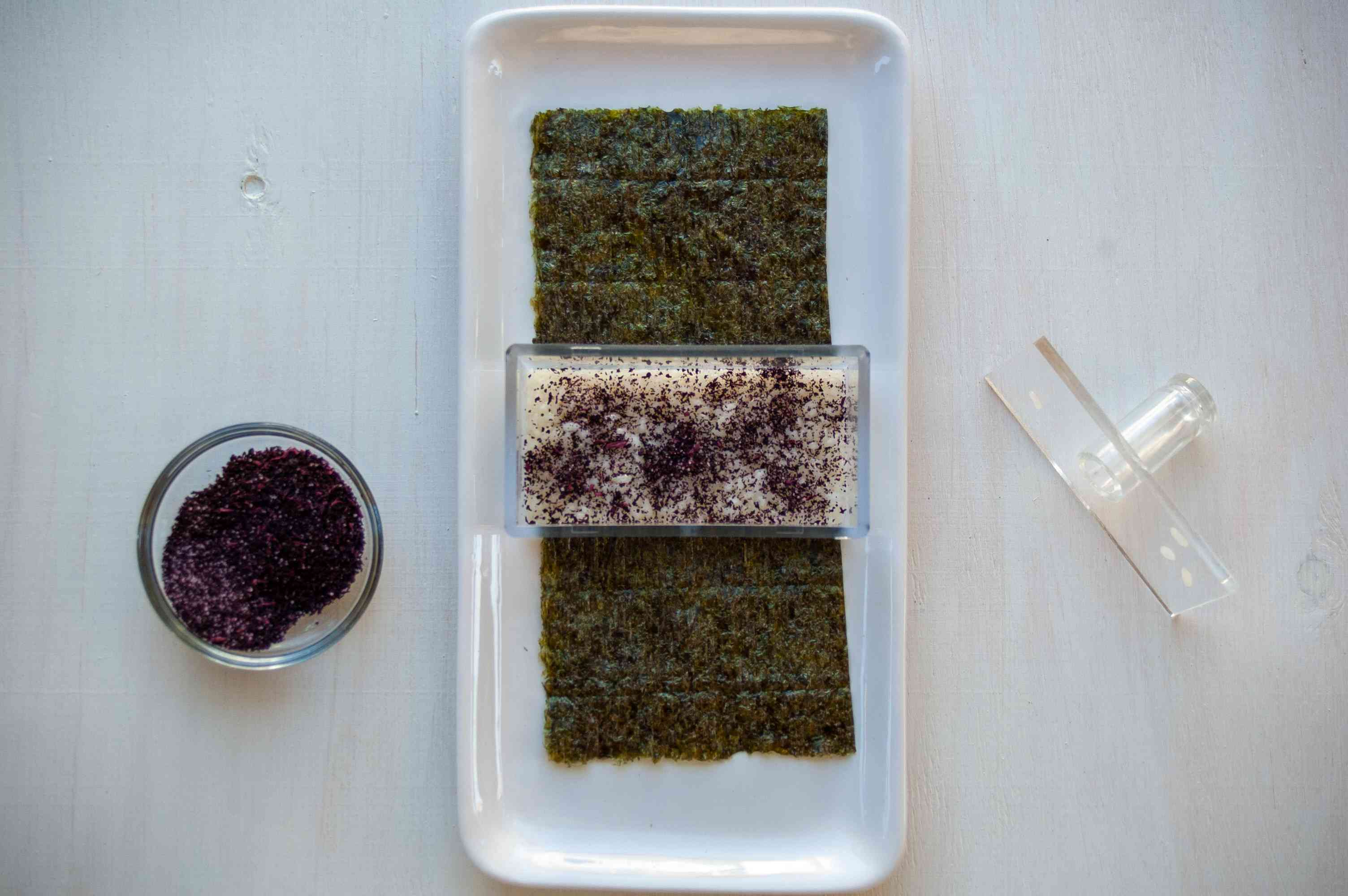 furikake on rice and nori