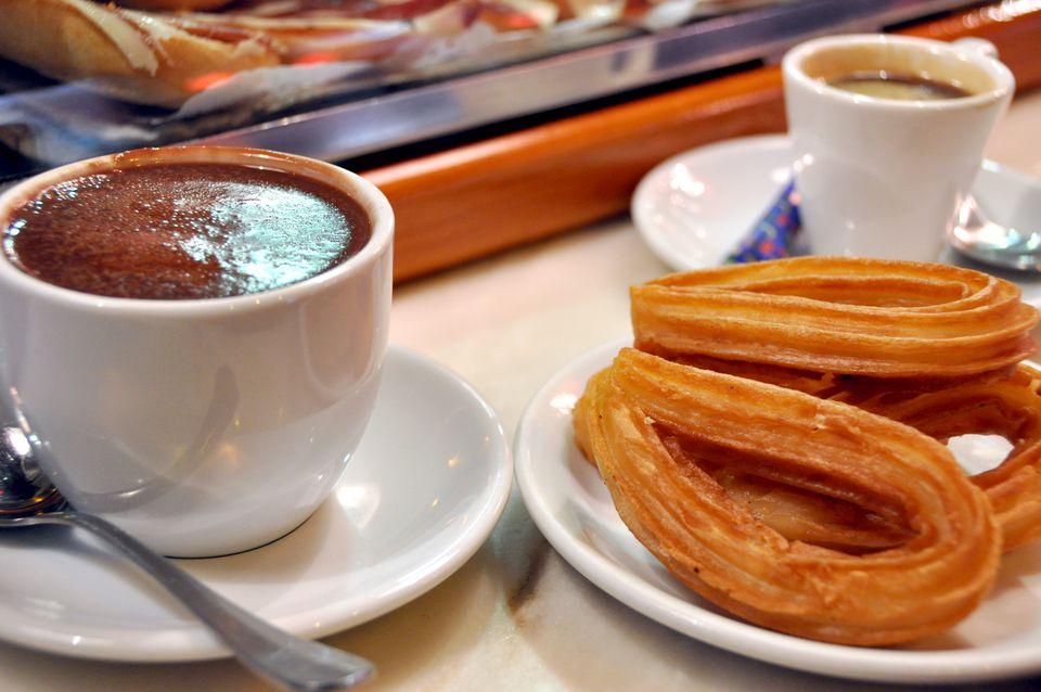 Avila Churros and chocolate coffee with milk