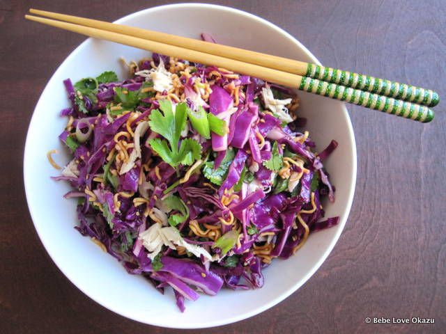 cabbage ramen salad in a bowl with chopsticks