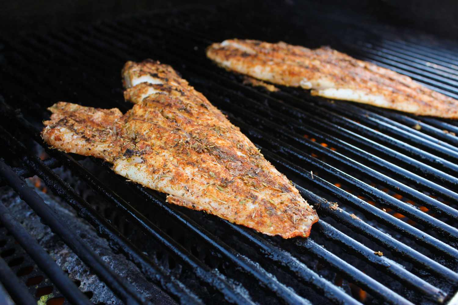 Red snapper flipped over on the grill