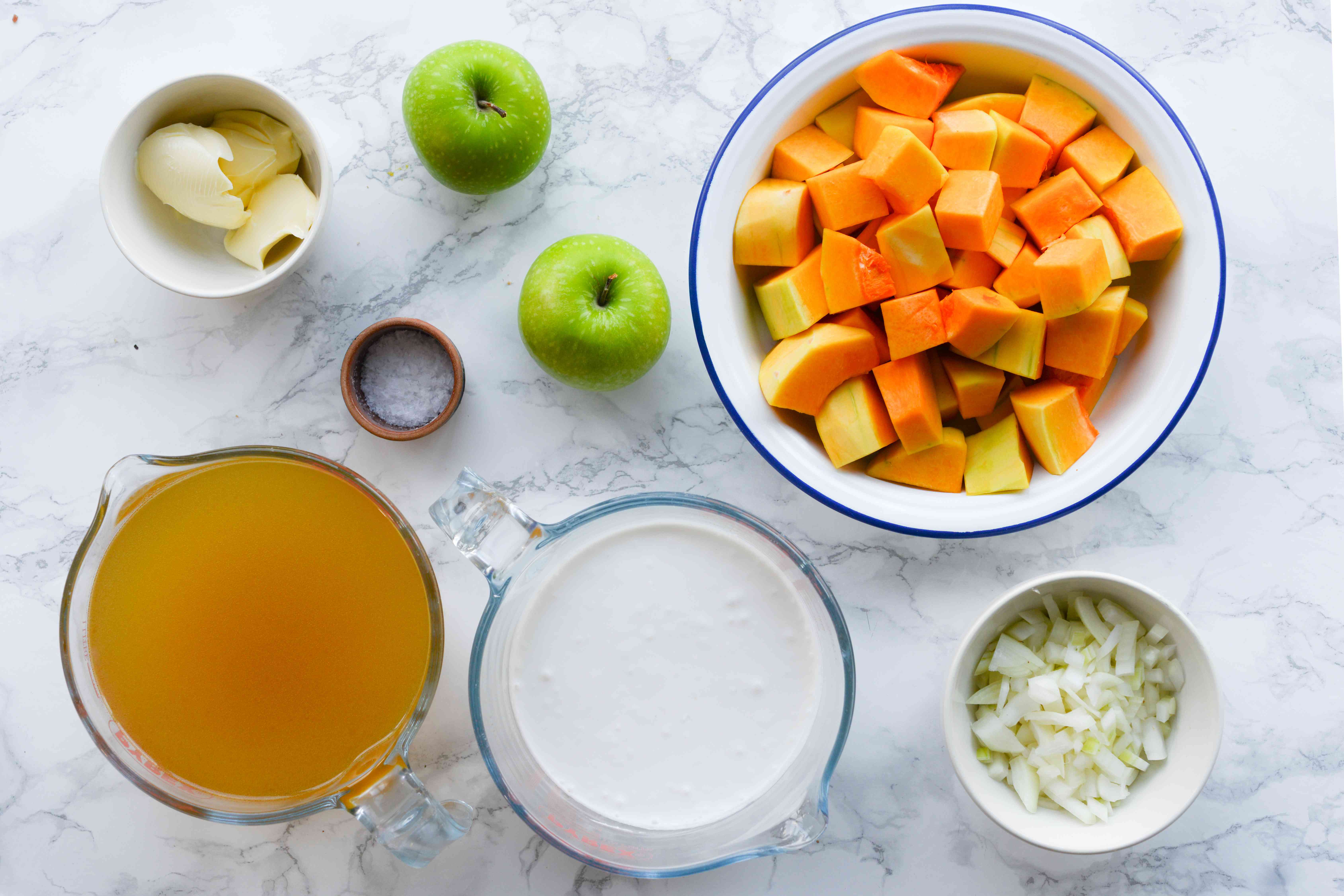 Gather the ingredients butternut squash apple soup