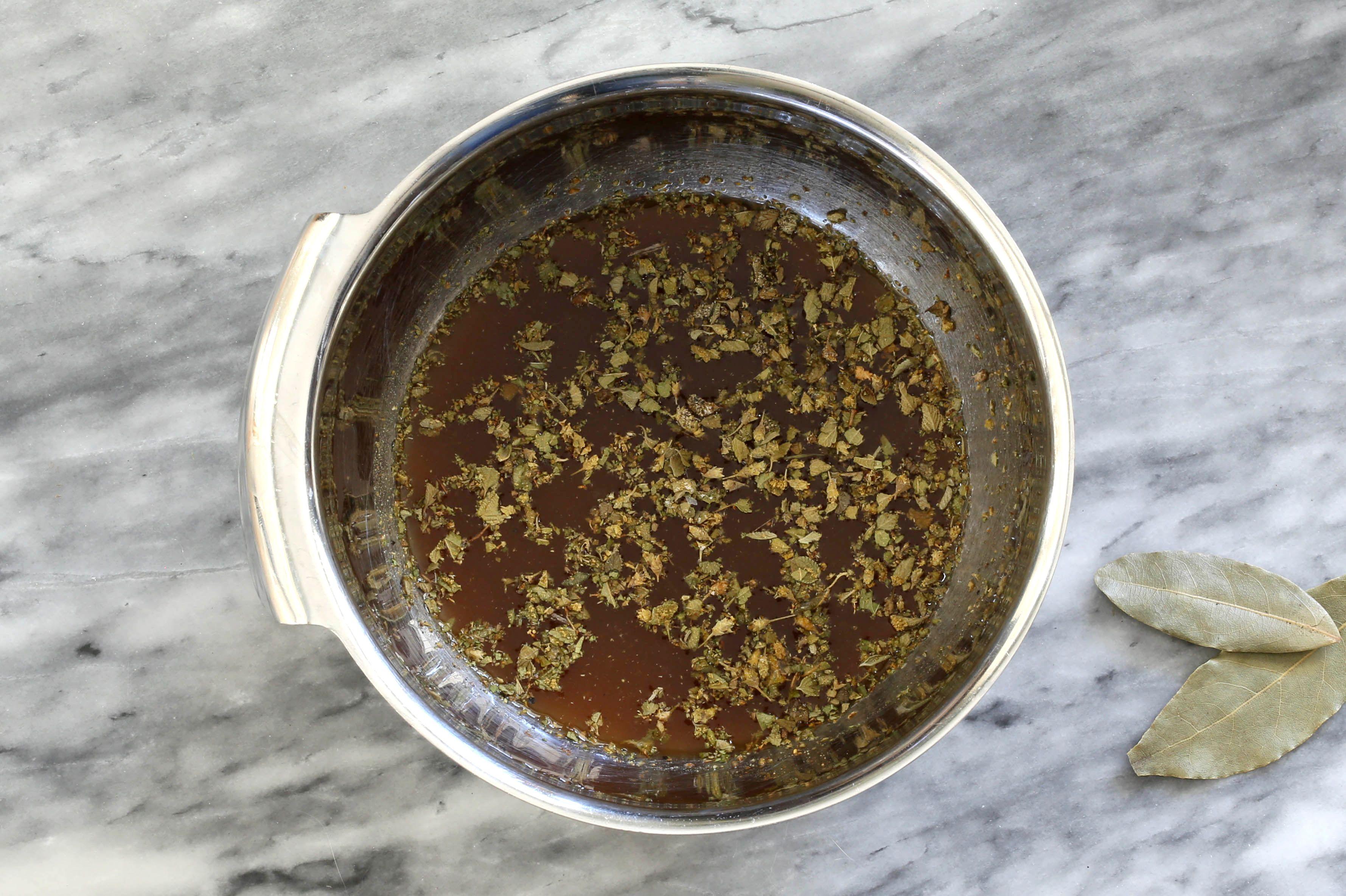 Combine the liquids and seasonings.