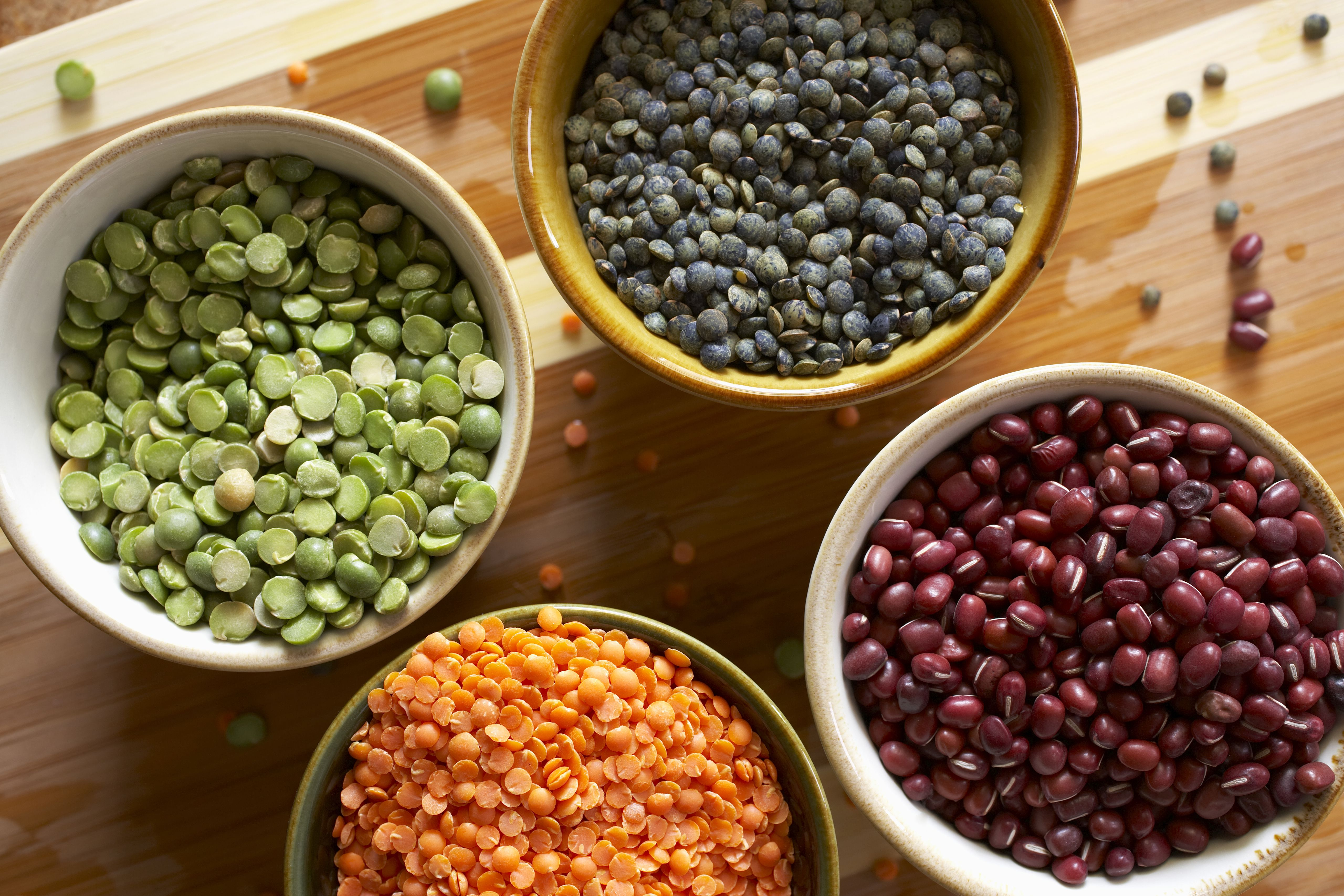Assorted Organic Dried Lentils and Beans in Small Bowls